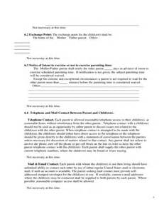 co parenting agreement template sle parenting plan form free