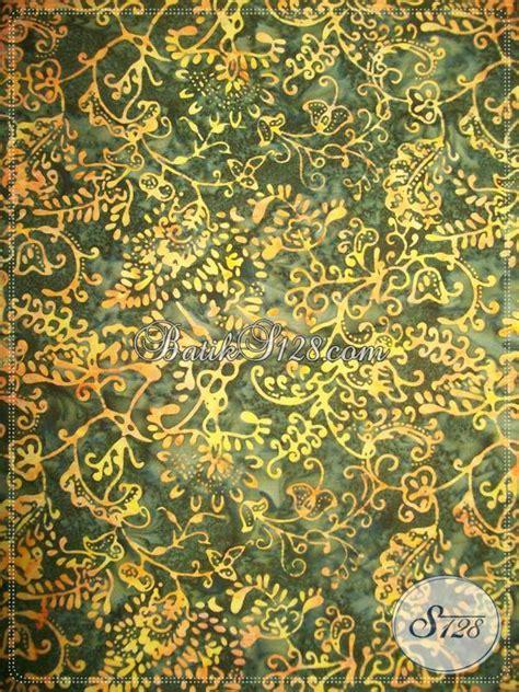 Kain Batik Bola Coklat kain batik cap warna hijau dipadu motif warna kuning