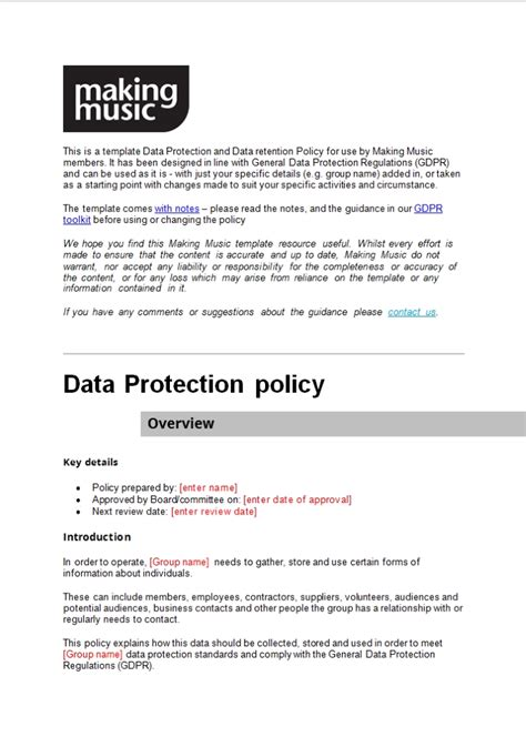 Data Protection And Retention Policy Template Making Music Data Retention Policy Template Gdpr
