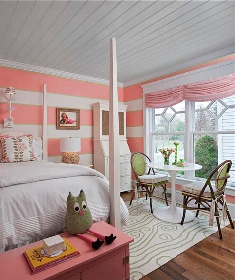 coral pink bedroom sweet s room boasts plank ceiling white and