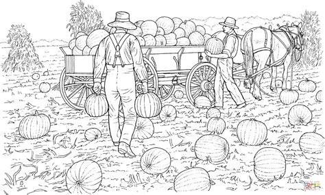 harvest coloring pages farmers gather the harvest from pumpkins field coloring