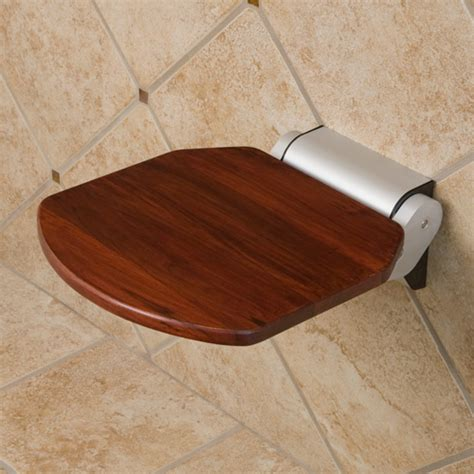 dark teak shower bench dark brown floating teak bench on beige wall tile of