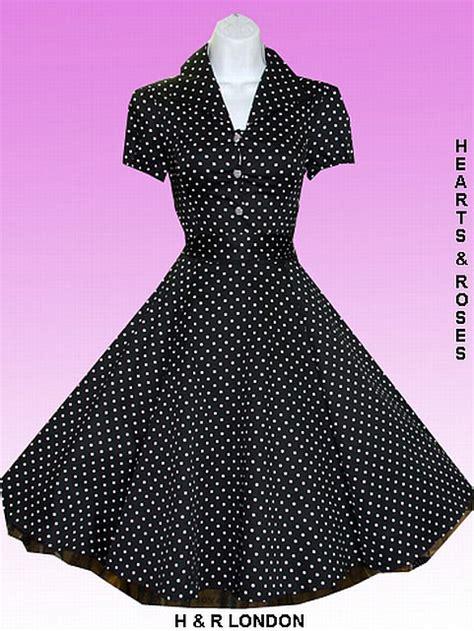 H R London Black And White Polka Dot Vintage Swing Dress