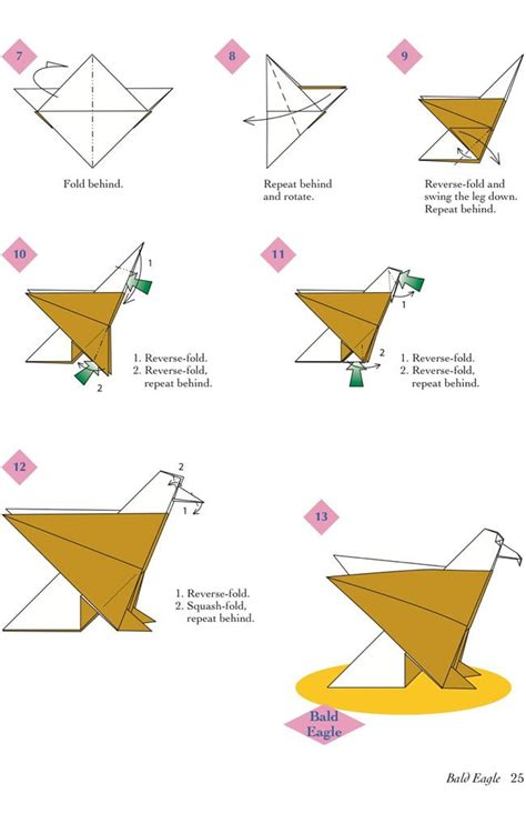 Paper Folding Animals - easy origami animals page 6 of 6 bald eagle 2 of 2