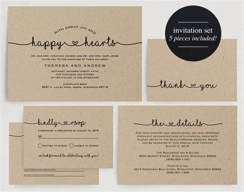 wedding invitation printable kraft wedding invitation