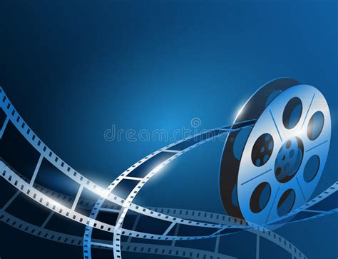 free stock video download 35mm film reel background animated illustration of a film stripe reel on shiny blue movie