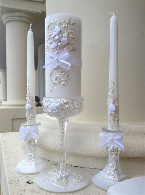 Wedding Ceremony With Unity Candle by Beautiful Wedding Unity Candle Set 3 Candles And 3 Glass
