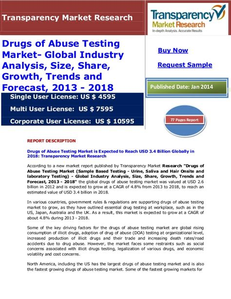 Drugs And Detox Center Industry Analysis by Drugs Of Abuse Testing Market Outlook 2013 To 2019