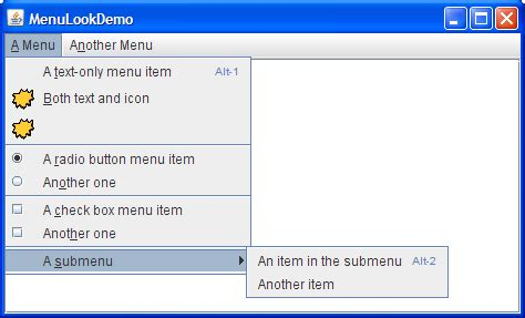java swing menu bar how to use menus the java tutorials gt creating a gui