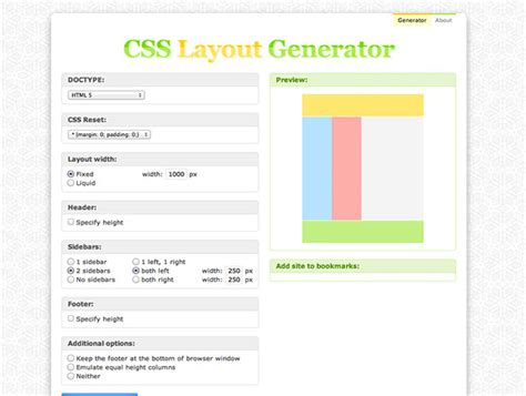 html and css layout generator css layout generator best web design tools