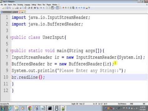 java tutorial user input java program to take user input from command line youtube