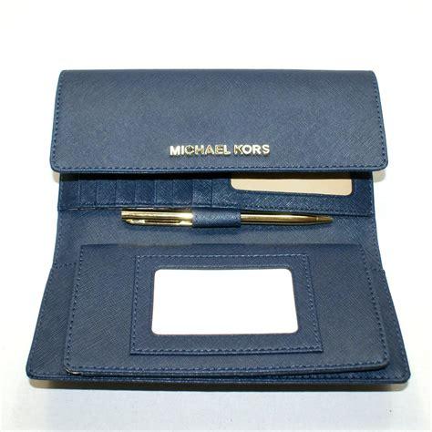 Michael Kors Travel Wallet Navy michael kors jet set travel leather checkbook wallet clutch navy 32t4gtve4l michael kors