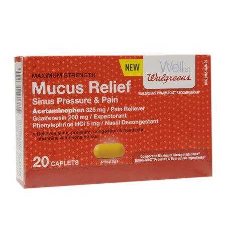 walgreens mucus relief sinus pressure caplet