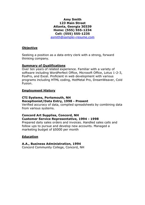 impressive data entry clerk resume sle displaying objective and employment history
