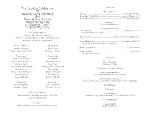 Wedding Program Inside Template Driverlayer Search Engine Simple Catholic Wedding Program Template