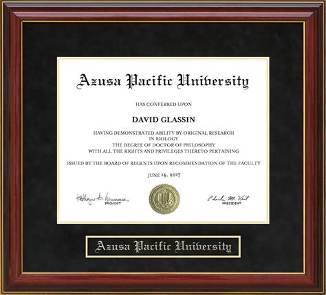 Graduate With Honors Apus Mba by Azusa Pacific Apu Mahogany Diploma Frame