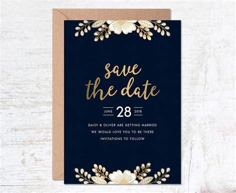 Gold Save The Date Save The Date Template Wedding Invitation Template Luxury Invitation Set Free The Invitations Template