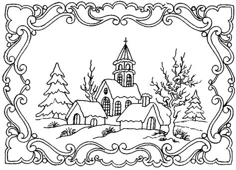 Coloring Page Winter Winter Landscape 5