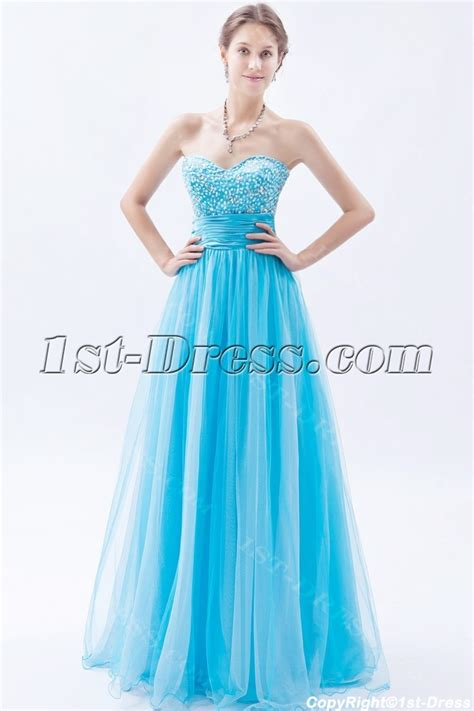 Strapless Long Aqua Blue Quinceanera Dresses 2013:1st