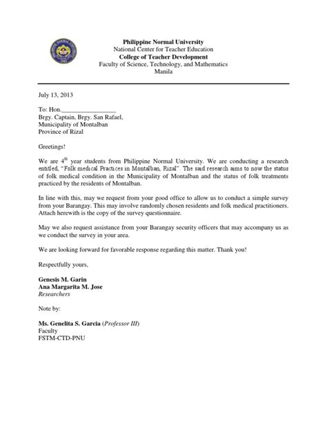 Sle Letter In Conducting Research Letter For The Brgy Captain