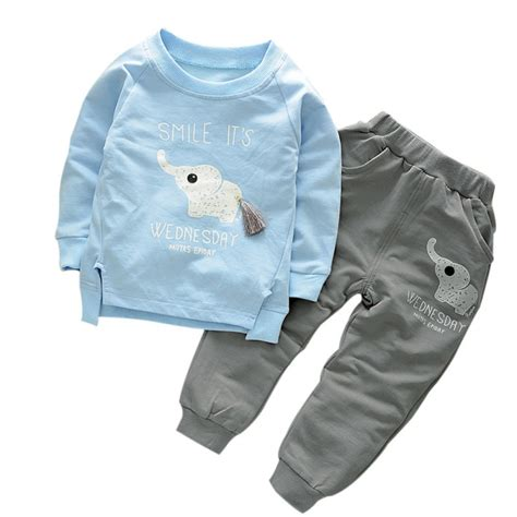 elephant pattern clothes autumn spring style cotton baby clothing set casual