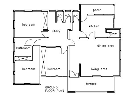 Three Bedrooms House Plans by House Plans 3 Bedroom House Plan House
