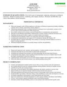 Resume Exles For Managers by Management Resume Sle