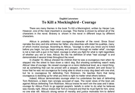 To Kill A Mockingbird Themes Essay Introduction | courage in to kill a mockingbird gcse english marked