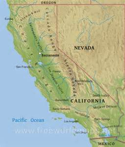 California United States Map by Physical Map Of California