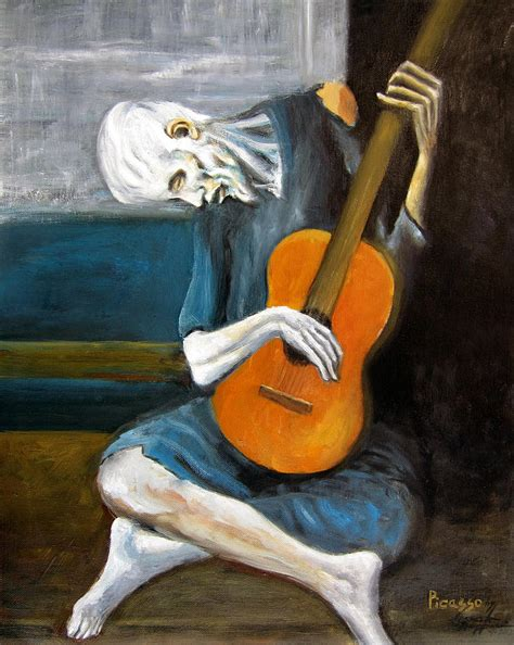 pablo picasso paintings guitar picasso s guitarist painting by leonardo ruggieri
