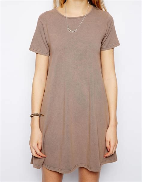 swing shirt dress asos swing t shirt dress in acid wash in gray grey lyst