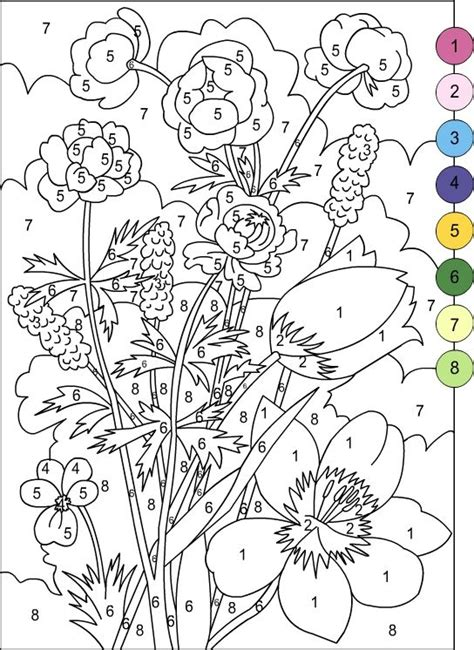 color by number flower coloring pages nicole s free coloring pages color by number for adults