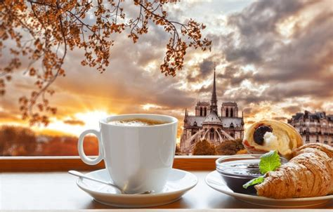 coffee breakfast wallpaper wallpaper cathedral cup croissant breakfast notre dame