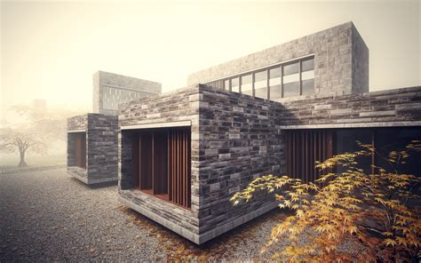 Stonework House Design with Bamboo Growing Inside