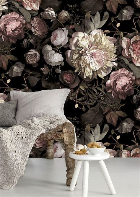 Flower Wallpaper Designs For Bedrooms Moody Floral Wallpaper