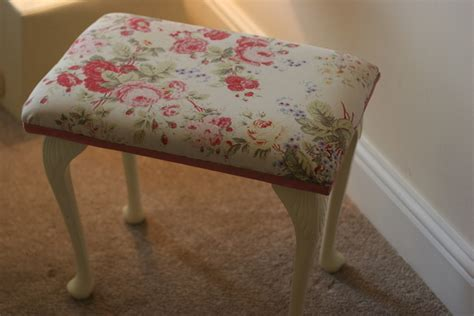 Shabby Chic Ottoman Upholstered Shabby Chic Footstool Folksy