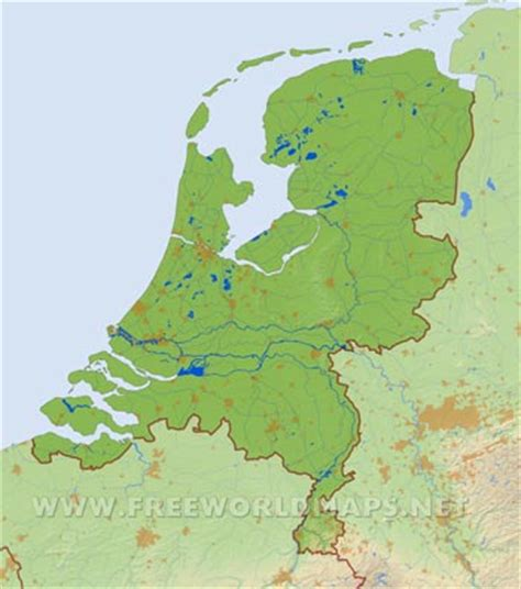physical map of netherlands the netherlands physical map