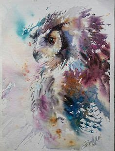 Painting 15x15cm Owl natalie graham watercolour painting of a kingfisher artists kingfisher