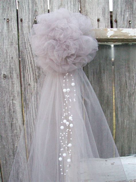 Decorating With Tulle by Silver Pew Bow Grey Wedding Decor Silver Tulle Church Aisle
