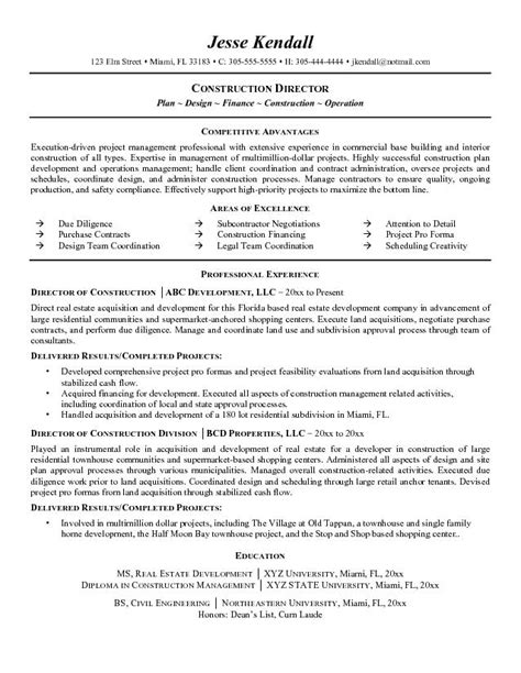 Resumes For Construction by Free Director Of Construction Resume Exle