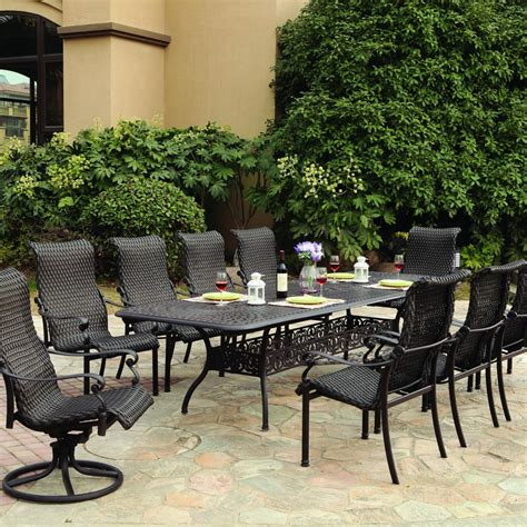 10 Person Patio Table Darlee 11 Resin Wicker Patio Dining Set With Extension Table Ultimate Patio
