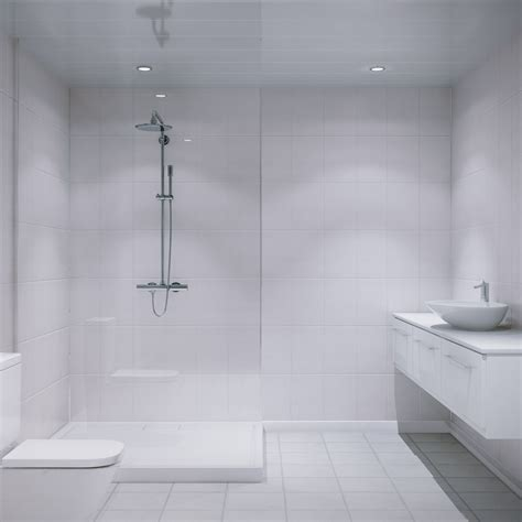 White Bathroom Wall Panels by Multipanel White Galaxy Xl Bevelled Tile 2440mm X 1220mm