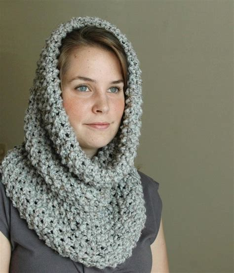 how to knit a hooded cowl gray marble knit infinity scarf cowl circle scarf