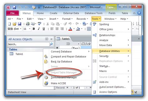 layout view not available access 2010 where is linked table manager in access 2007 2010 2013