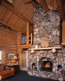 the river rock fireplace surround soaring skyward