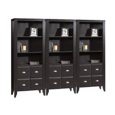 wall bookcase with doors sauder shoal creek wall bookcase with doors in jamocha wood