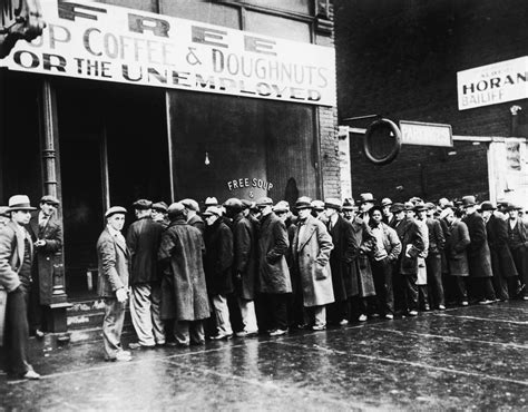 unemployed men outside a depression soup kitchen in