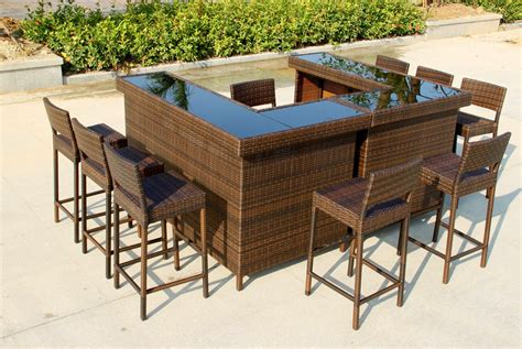 Outdoor Patio Bar Table Large U Shape Bar In Mixed Brown Rattan With Stools Cool House Stuff Rattan