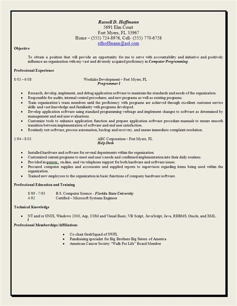 objective statements on resumes exle objective statement resume