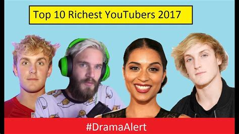 top 10 richest youtubers of 2017 dramaalert jake paul busted pewdiepie vs rewind
